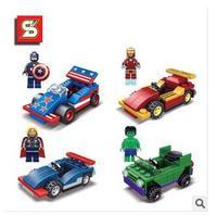 Super Hero Avengers Toys 4PCS Captain America, Iron Man, Hulk, Thor DIY Building Blocks Sets SY189 Action Figure   T67