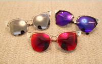 New European style big rhinestone cat eye sunglasses colored mercury reflective sunglasses lady sunglasses