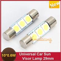 New  10X 0.6W 29mm 3-SMD 5050 LED Fuse Visor Vanity Mirror Lights LED light Bar Xenon White 6641