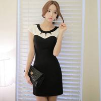 Vestidos Casual Free Shipping Bodycon Dress Women New Fashion 2014 Korean Black And White Patchwork Hollow Out Work Wear S-XXLWo
