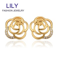 E910 Wholesale! Nickle Free Antiallergic 18K Real Gold Plated Earrings For Women, New Fashion Jewelry Free Shipping