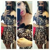 Women Leopard Print and black lace patchwork dress party Vestidos