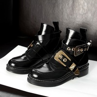 Brand Hot Buckle Cutout Flat Black Genuine Leather Women Motorcycle Boots Ankle Boots Shoes Riding Gladiator Booties