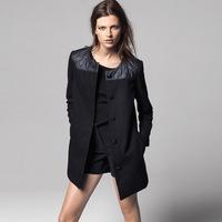 2014 NEW Fashion Winter Coat Women Faux Leather Woolen Patchwork Long Trench Coat Windcoat Winter PU Overcoat Free Shipping Q154