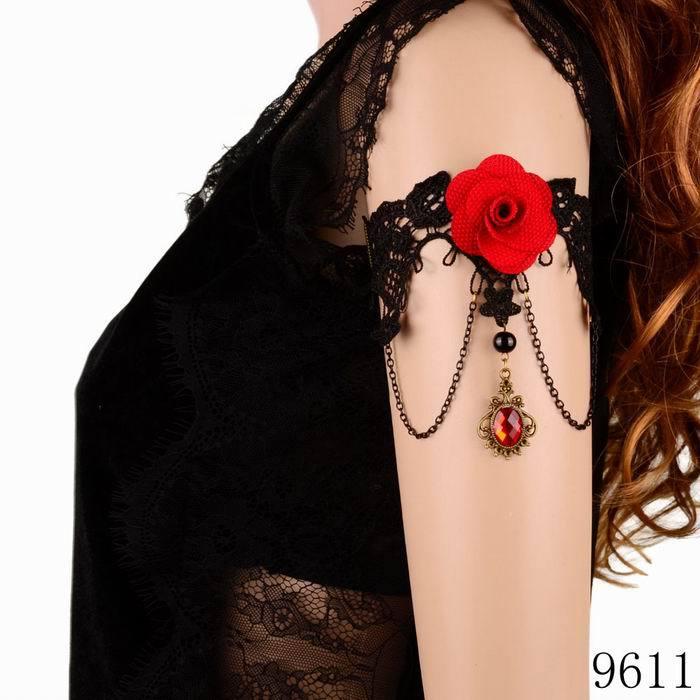Minimum order $10 Statement Armband Rhinestone Drop Red Flower Black Lace Arm Bracelet Dance Gothic Jewelry Free Shipping(China (Mainland))