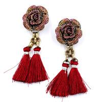 NEW 2014 flower fashion earrings hot sale flower tassel earrings for women jewelry wholesale
