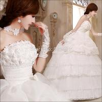 Bridal weddings flowers Korean bow sweet bride wedding dress 2014 new wedding dresses vestido de noiva casamento 412