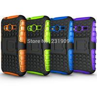 Dual Layer Strong Tough Tradesman 2 in 1 Hybrid Armor Kickstand Cover Slim Hard Gel Case For Samsung Galaxy Ace 4 , Free Ship