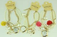 2014 new arrival fashion pearl bracelet quartz watch women casual watch lady dress wristwatch