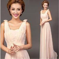 Fashionable New Pink Sexy Chiffon Long evening dress prom dresses 2014 evening dresses vestidos de festa vestido longo E107