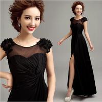 Fashionable New Sexy Vent Black Flower Long evening dress formal dresses party dresses prom dresses 2014 vestido de festa E108