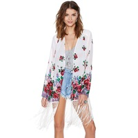 HIGH QUALITY! print floral loose half sleeve tassel sweep women's chiffon shirt girl protective clothes  XS-XXL,141516436