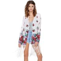 HIGH QUALITY! print floral loose half sleeve tassel sweep women's chiffon shirt girl protective clothes  XS-XXL,141516436