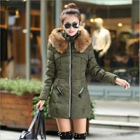Lanluu 2014 Autumn and  Winter Coat! Fur Collar Slim Fashion Hooded Women Cotton Down Coats NM570
