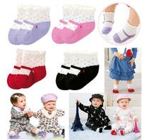 New 2014 baby boys girls dot cotton sock newborn infant warm socks kids y Slip-resistant Cartoon Floor Socks