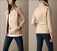 Women Fashion Brand British Short Cotton Padded Jacket/Designer Plaid Collar Casual Coats Elegant Outerwear #C