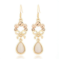 2014 New Fashionlong dangle  beige White Water Drop Shape Decorated With Cz Dimaond Alloy Korean clip on Earrings for Women