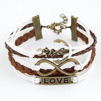 2014 Hot Sale Womens Fashion Vintage Anchors letter  love Rectangle Leather Bracelet Multilayer Bracelet swomen Jewelry  Bangle