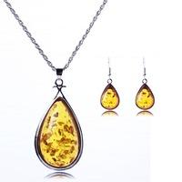 Korean Vogue 2014 Fashion Jewelry Waterdrop Pendants Jewelry Sets Faux Amber Necklaces +Earrings +bracelet For Woman DFX-549