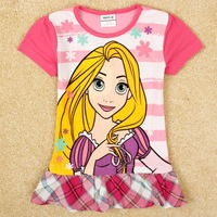 lovely printed girls elgant t shirt tunic top hot summer baby girl cotton t shirts FREE SHIPPING H4981# 2Y/8Y 5pieces /lot