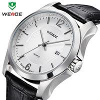 WEIDE 2014 new watch women luxury wrist watch brand analog quartz genuine leather band date hours clock relogio 30m waterproof