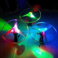 p80 1 pz giocattolo all'aperto frisbee boomerang disco volante elicottero disco di spin led luce(China (Mainland))