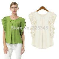 Fashion Womens Chiffon Pleated Short Sleeve Casual Shirt Loose Blouse Tops S-XL