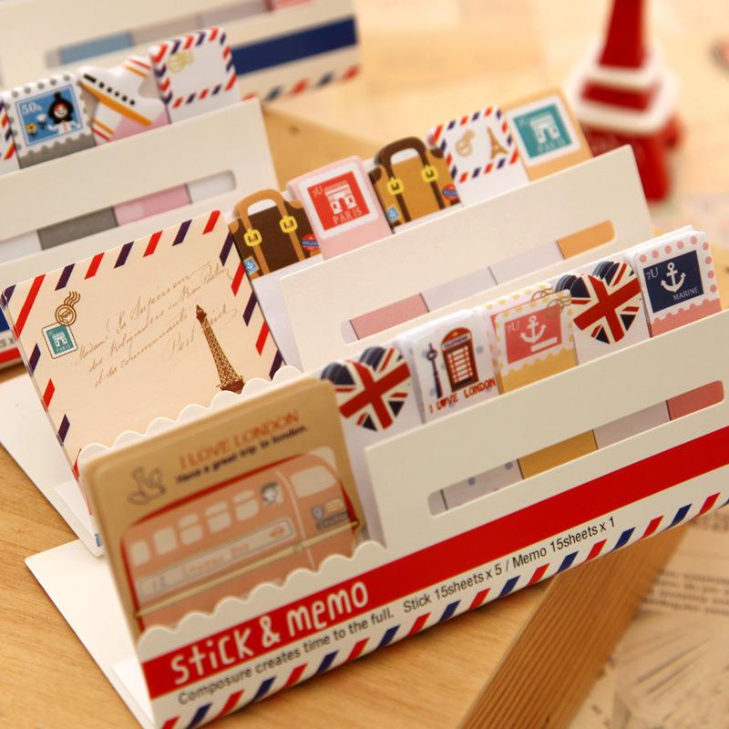 5 sets/lot Cute Mini Memo Pad Sticky london post it Note Paper Scrapbooking Sticker Pads Creative Stationery Free shipping 243(China (Mainland))
