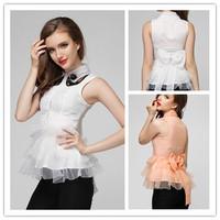 2014 new runway fashion sweet OL ladies solid color turn down collar Organza ruffles blouse shirt S,M,L