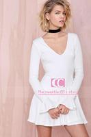 Spring And Autumn Fashion Deep V-neck Long-sleeve Knitted Women One-piece Dress / Knee-Length Slim White Women Dress XS-XXL
