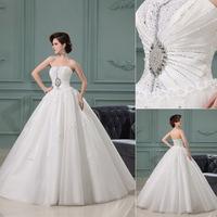 QYJY021 wedding dress 2014 luxury crystal lace up back Crystal Lace puffy ball gown wedding dresses 2014