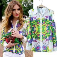 2014 New Promotion Long Sleeve Women Blouses Turn-down Collar Casual Chiffon Shirts Single Breasted Printed Blusas Femininas 753