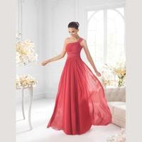 One Shoulder Appliques Pleats Floor Length Cheap Color Arrival Chiffon Bridesmaid Dress Patterns
