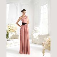 New Arrival One Shoulder Appliques Pleats Floor Length Cheap Chiffon Bridesmaid Dress Patterns