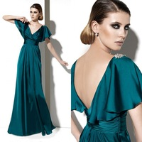 Wholesale V-Neck Pleats Floor Length Silk Fabric Evening Dress With Open Back Long