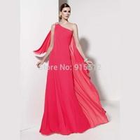 New Arrival One Shoulder Long Ruffles Cheap Bridesmaid Dress Hot Pink