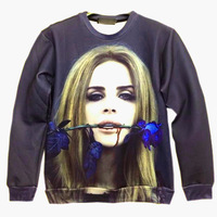 Harajuku Lana Del Rey Blue Thorn Rose Star Printed hoodie 3d Sweatshirt Pullover Tops for men women unisex