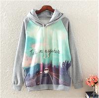 "2014 new  Europe and america style  women hoodies sweatshirts long sleeve print hoodies 'Take me anywhere "" Fleeces hoodies"