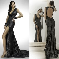 Sexy Deep V-Neck Open Back Slit High Black Evening Dress With Sequins