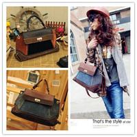 New Arrival 1Pcs EuropeStyle Women's Retro Denim Messenger bag Leather Handbag Fashion business women Designer totes CX840125