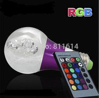 3W E27 RGB led crystal bulb 220V 230V 240V 110V Magic Ball Light With IR remote controller for home decoration ,KTV,Party lamp