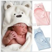 Free shipping coral fleece newborn kids baby blanket boy&girl toddler cartoon bear sleeping bag autumn and winter BB29104