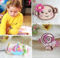 European Trending Children Hair Accessories Cartoon Fabric Hairpins Hair clip