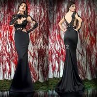 Retro Arabic Long Sleeve Sheath Black Appliques Emboridered Evening Dress