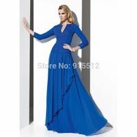 Wholesale V-neck Long Sleeve Beading Floor Length Muslim Royal Blue Kaftans Evening Dress