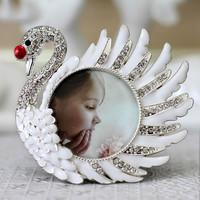 Child photo frame baby photo frame alloy small photo frame white swan exquisite gift photo frame rack