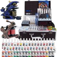 New 2 Pro Machine Guns Tattoo Kit  54 Inks Power Supply Needle Grips with Tattoo Box TK221 Free Shipping by DHL