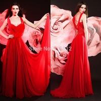Retro Sweetheart Neckline Cap Sleeve Long Ruffle Chiffon Red Silk Evening Dress