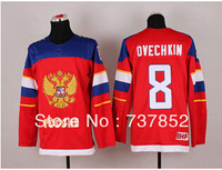 NEWEST 2014 Sochi Winter Olympic Russia Team Jerseys #8 Alex Ovechkin Jersey Red Color Ice Hockey Sports Uniform Free Shipping