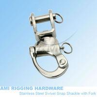 70mm, Snap Shackle swivel Fork, stainless steel 316, AISI 316, marine hardware, boat hardware, rigging hardware